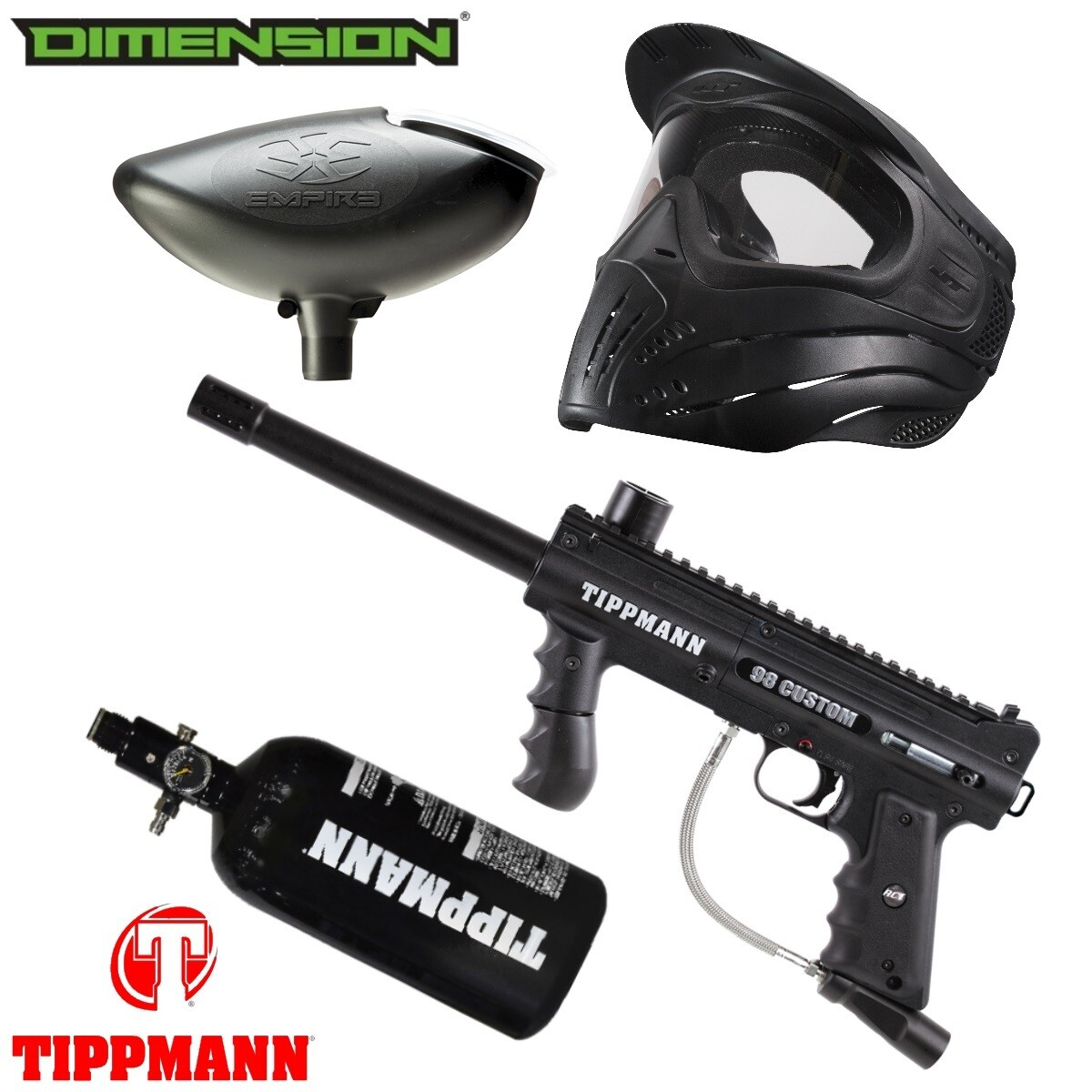 Marker Package - Tippmann 98 CUSTOM PS ULTRA BASIC Marker / 200 Rnd. Loader / Premise Mask Single / 48cu 3000 psi Air Tank