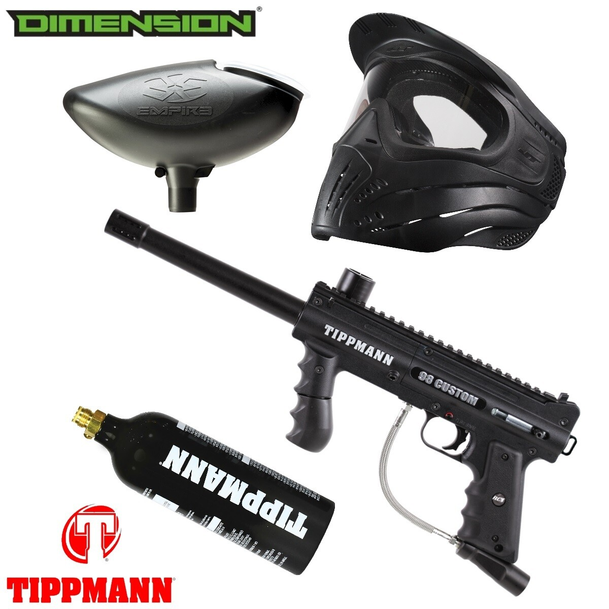 Marker Package - Tippmann 98 CUSTOM PS ULTRA BASIC Marker / 200 Rnd. Loader / Premise Mask Single / 20oz Co2 Tank