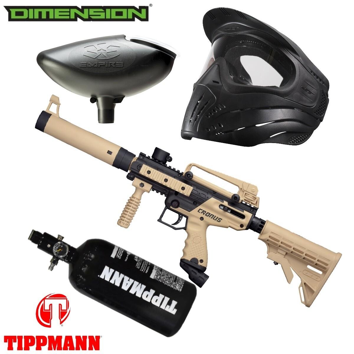 Marker Package - Tippmann Cronus Tactical Marker - Black:Tan / 200 Rnd. Loader / Premise Mask Single / 48cu 3000 psi Air Tank
