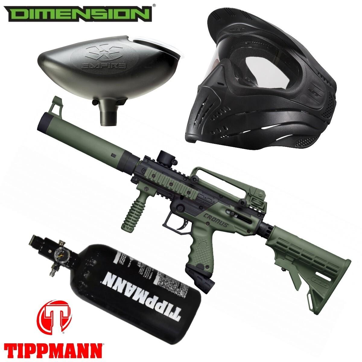 Marker Package - Tippmann Cronus Tactical Marker - Black:Olive / 200 Rnd. Loader / Premise Mask Single / 48cu 3000 psi Air Tank