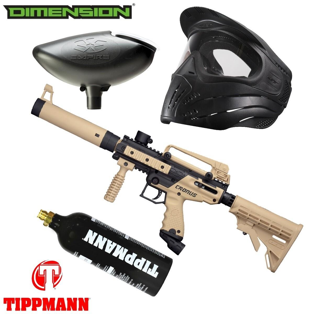 Marker Package - Tippmann Cronus Tactical Marker - Black:Tan / 200 Rnd. Loader / Premise Mask Single / 20oz Co2 Tank