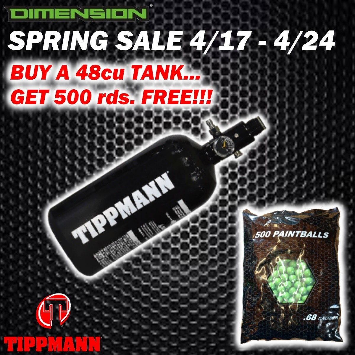 SPRING SALE 4-17/4-24 - Tippmann Compressed Air Tank - 48 cu 3000 psi Aluminum *** FREE 500 Rds Paint ***