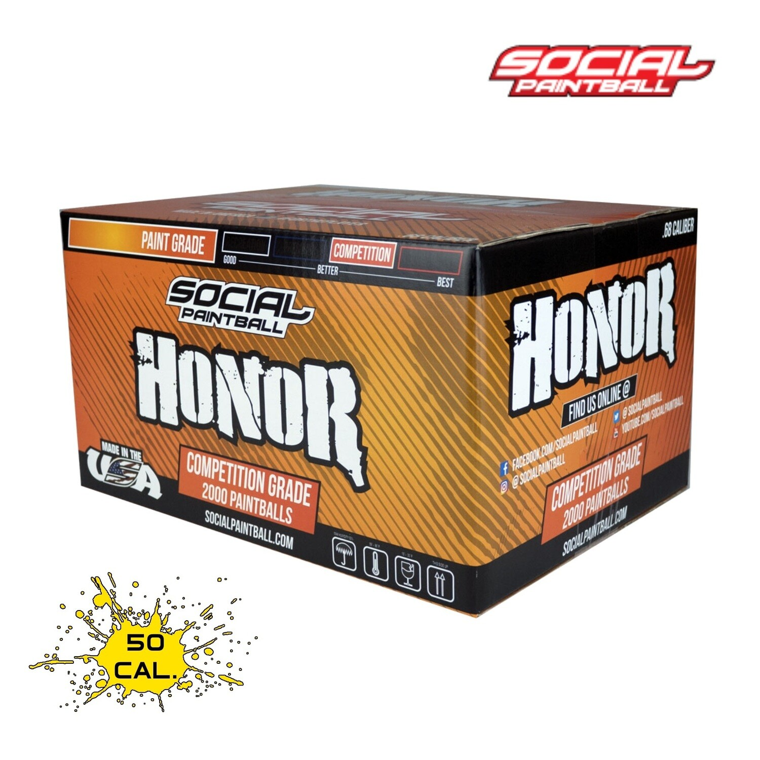 Social Paintball Honor .50 cal Paintballs - Case of 4000 Rds - Yellow Fill