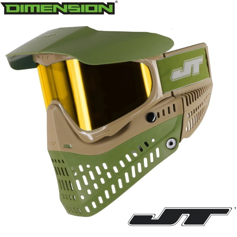 JT Proflex SE Paintball Mask - Tan/Olive w/ Yellow Retro Prizm 2.0 Thermal Lens
