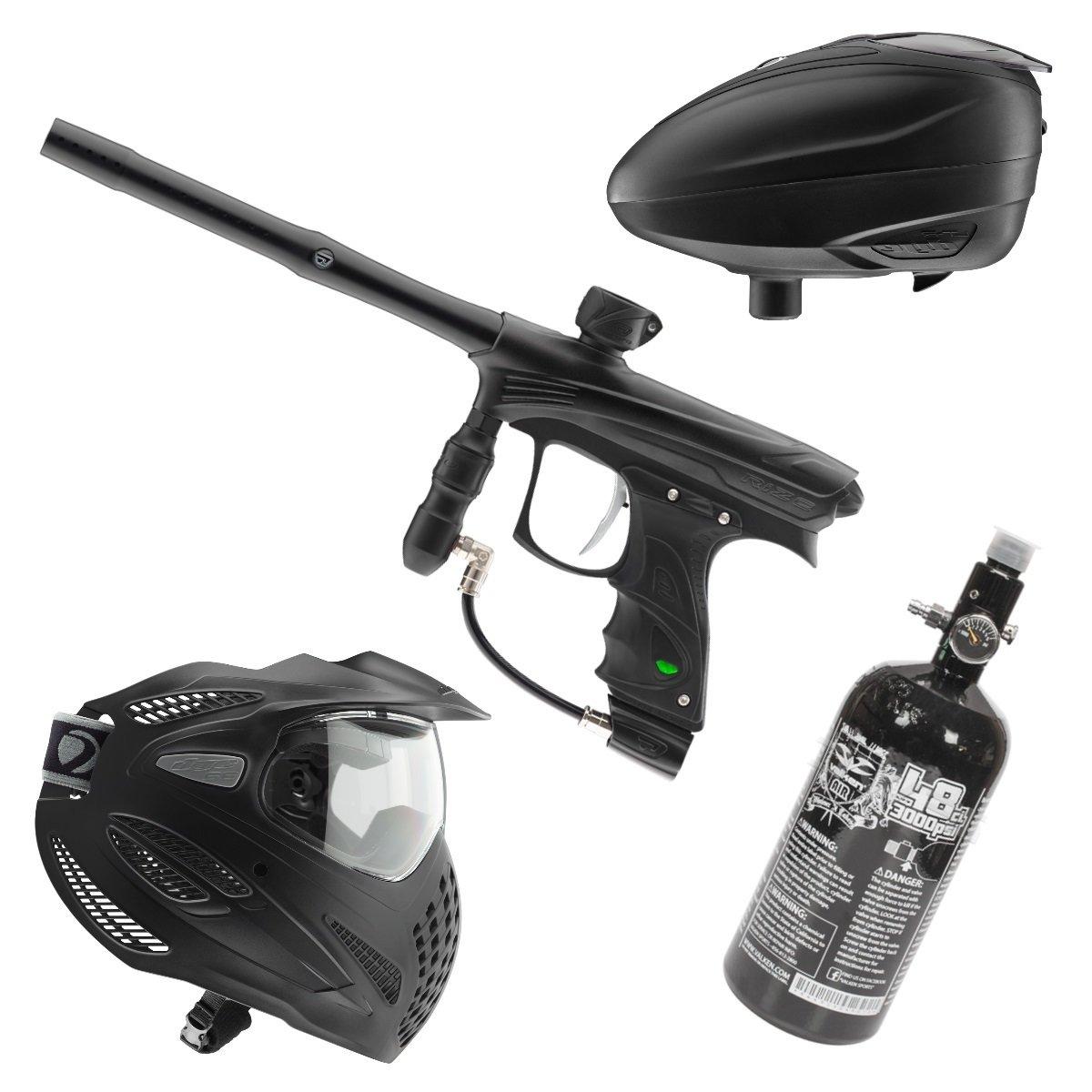 Marker Package - Dye Rize Marker - Black Dust / Dye LT-R Black / Dye Se Goggle Single / Valken 48cu 3000 psi Air Tank