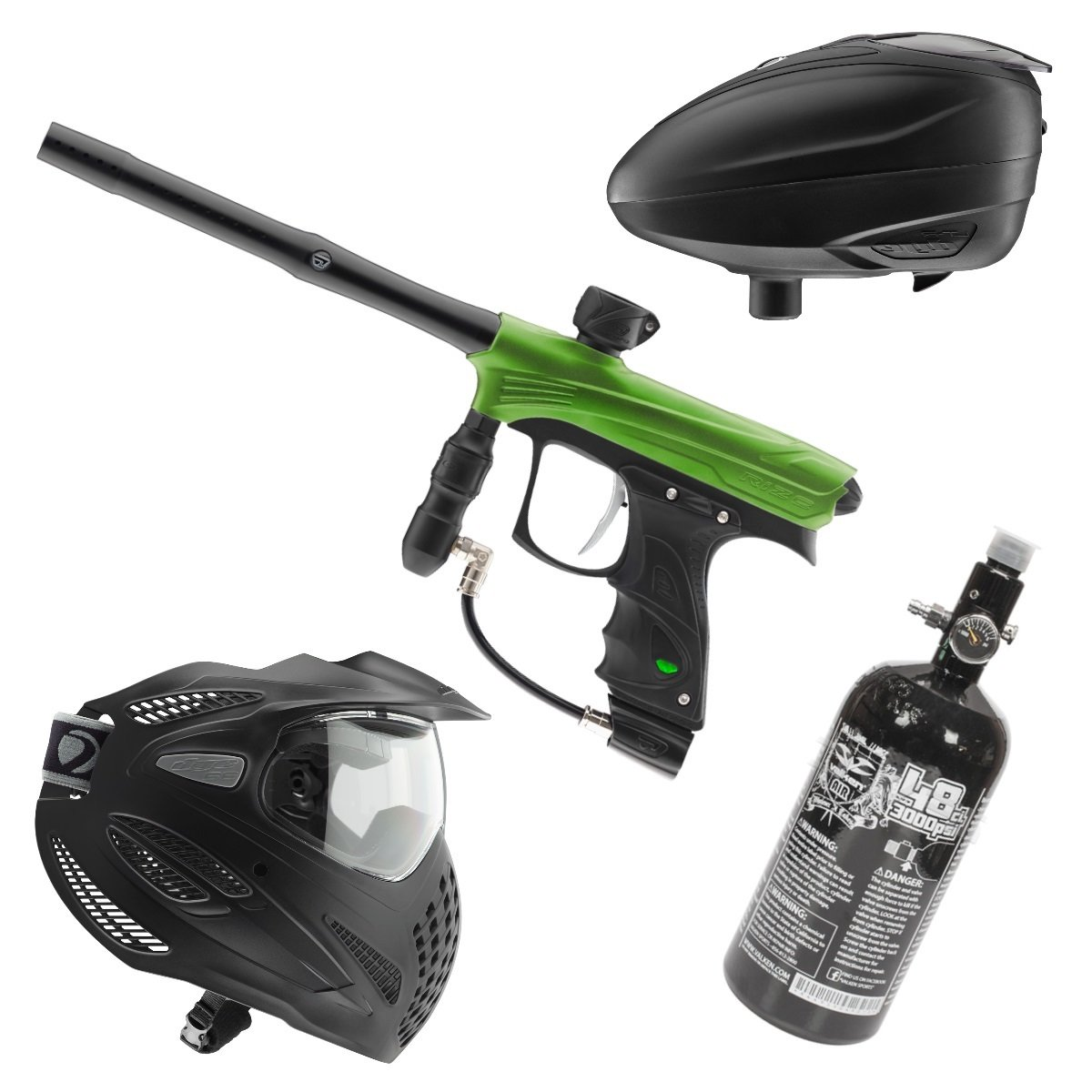Marker Package - Dye Rize Marker - Lime Dust / Dye LT-R Black / Dye Se Goggle Single / Valken 48cu 3000 psi Air Tank