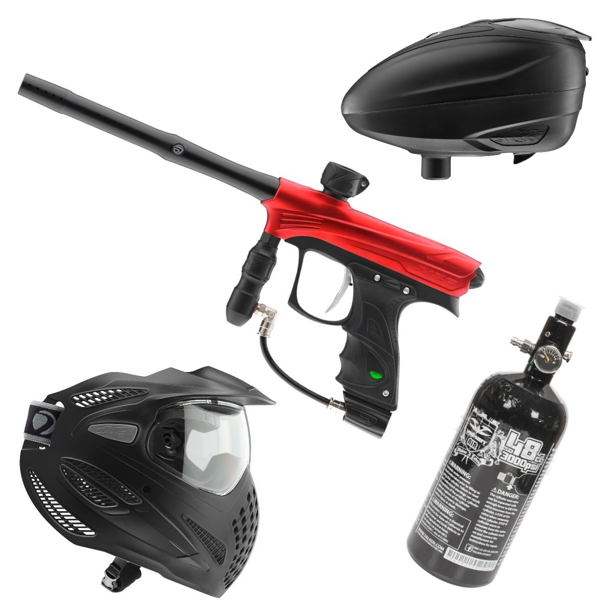 Marker Package - Dye Rize Marker - Red Dust / Dye LT-R Black / Dye Se Goggle Single / Valken 48cu 3000 psi Air Tank