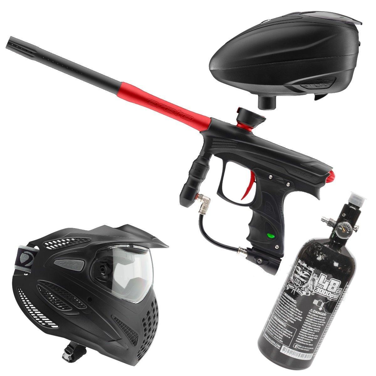 Marker Package - Dye Rize Maxxed Marker - Blk/Red Dust / Dye LT-R Black / Dye Se Goggle Single / Valken 48cu 3000 psi Air Tank
