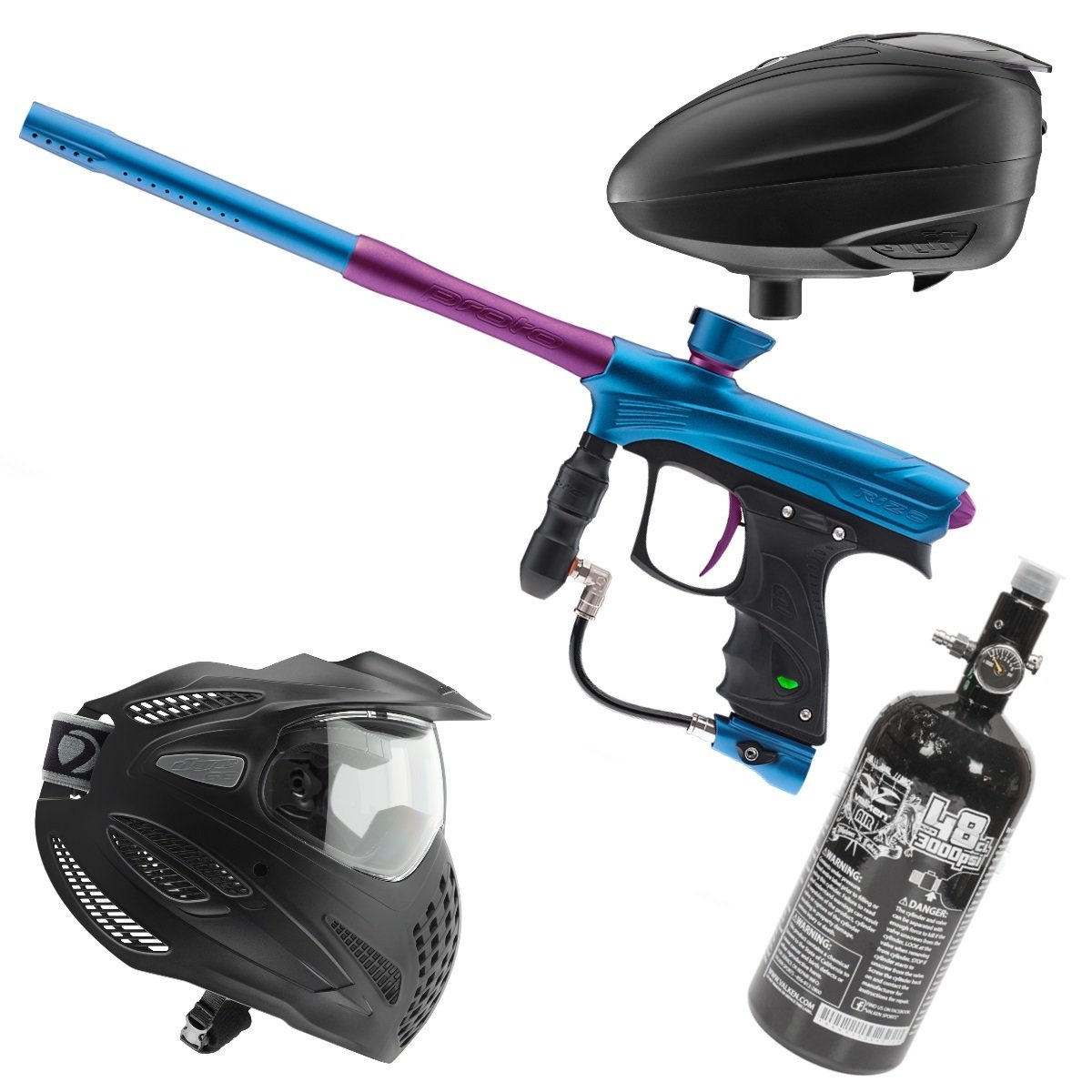 Marker Package - Dye Rize Maxxed Marker - Cyan/Purple / Dye LT-R Black / Dye Se Goggle Single / Valken 48cu 3000 psi Air Tank