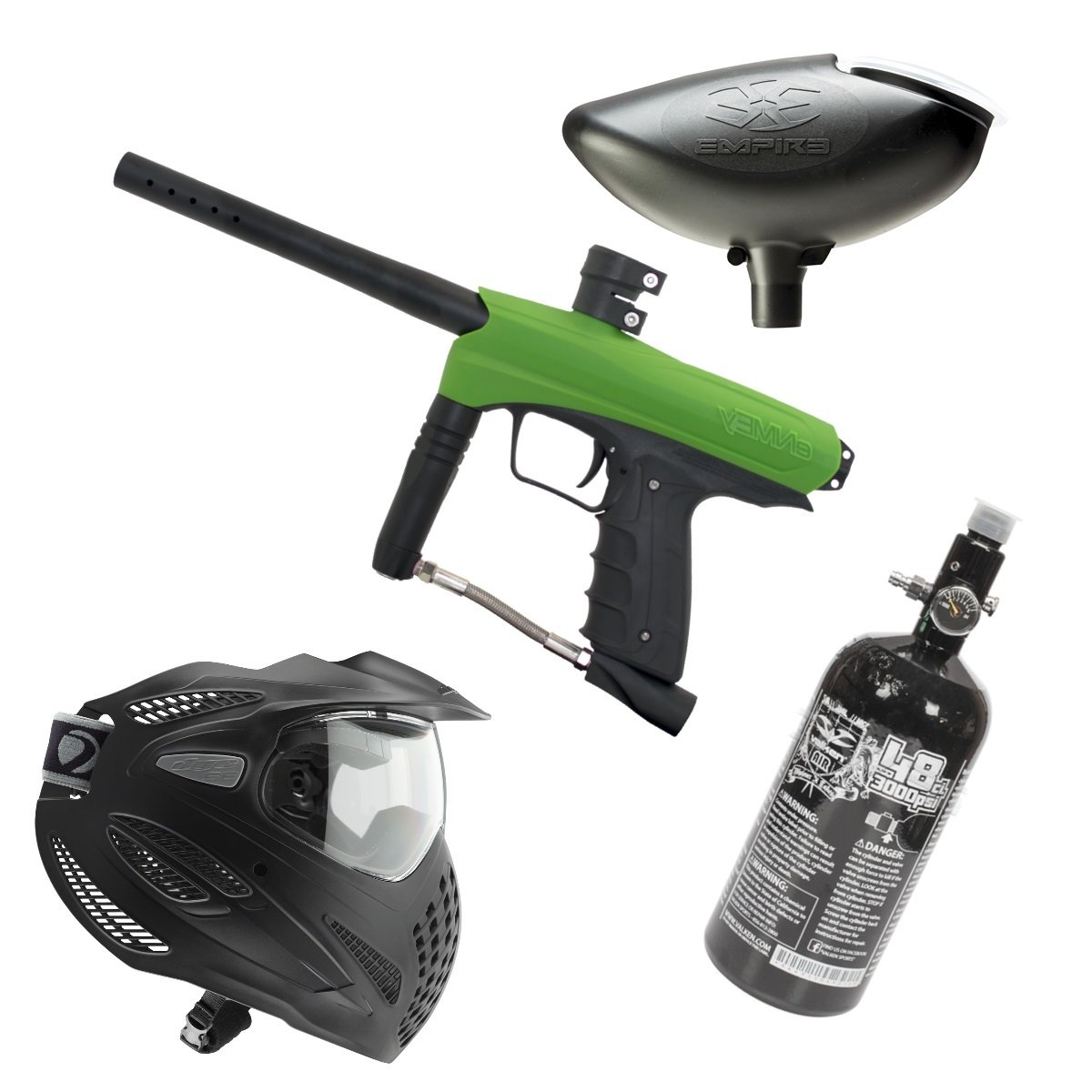 Marker Package - Gog Enmey Marker - Green / Empire 200 rd Loader / Dye Se Goggle Single / Valken 48cu 3000 psi Air Tank