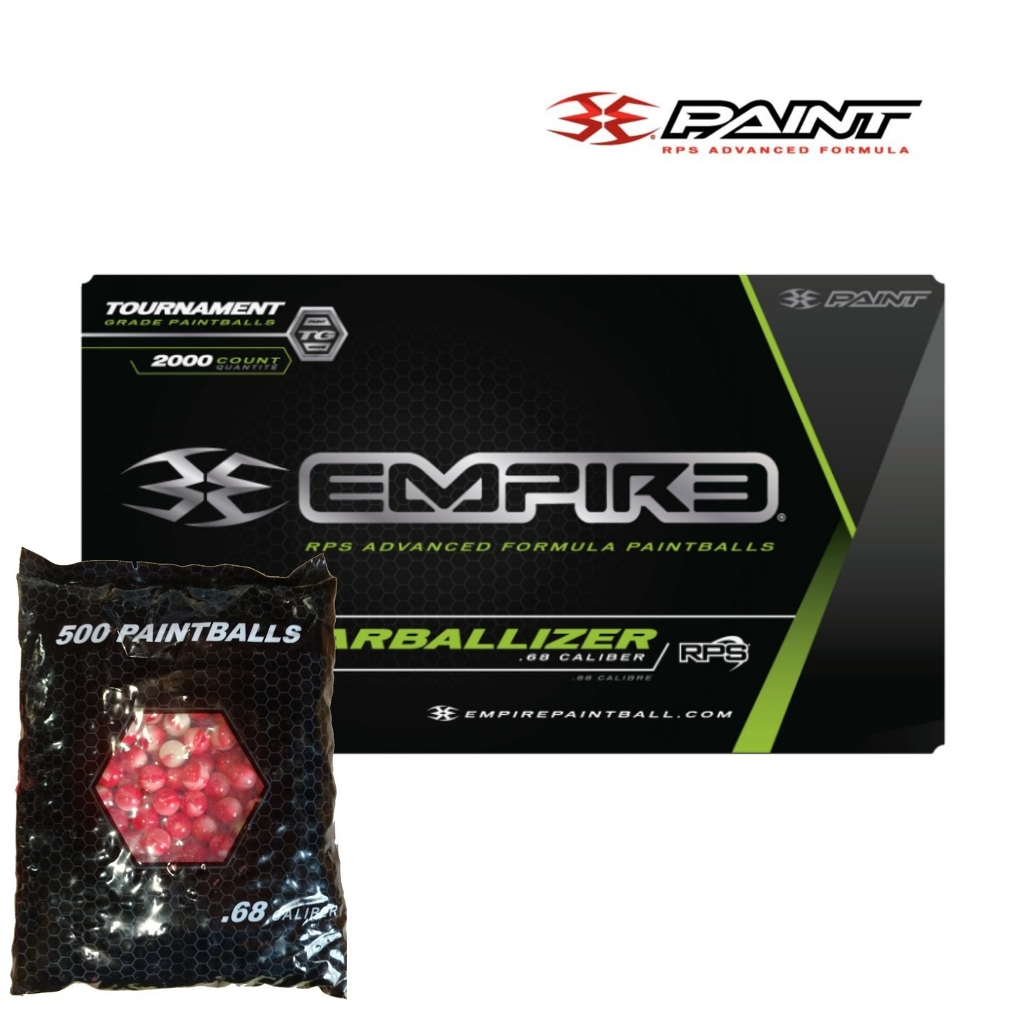 Empire Marballizer .68 cal Paintballs - Case of 2000 Rds - Clear/Red Swirl Shell - White Fill