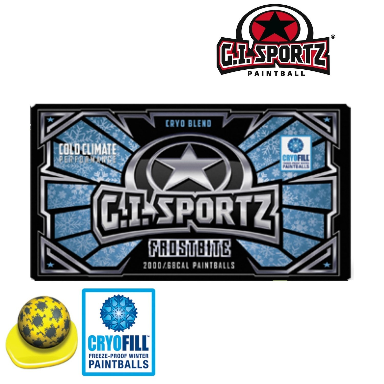 G.I. Sportz Frostbite .68 cal Paintballs - Case of 2000 Rds - Yellow Fill