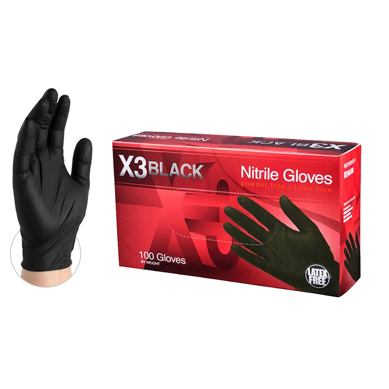 X3 Black Nitrile Gloves - MEDIUM SIZE AVAILABLE
