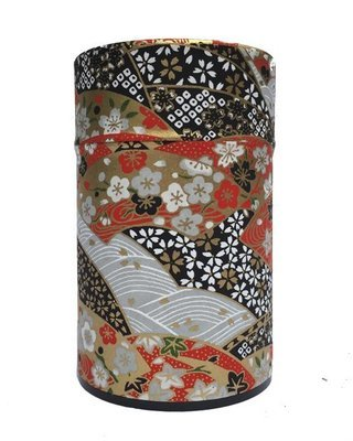 Japanese Fan Tea Canister (Black - 150g)