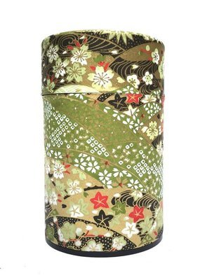 Japanese Fan Tea Canister (Green - 150g)
