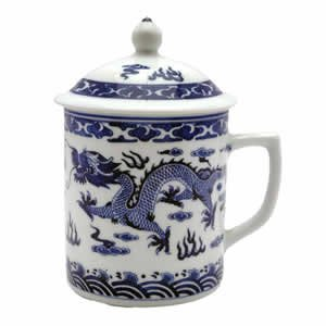 Classic Chinese Ming Dragon Mug (Blue & White)