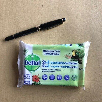 Dettol 2in1 15 Tücher Desinfektion 99,9% für unterwegs