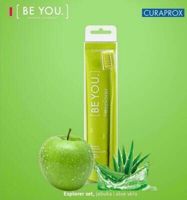 Curaprox BE YOU COMBIPACK EXPLORER TOOTHPASTE 90ml ( fresh green apple with juicy aloe vera ) with 1PS toothbrush 5460