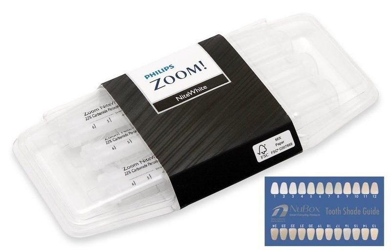 Philips Zoom NiteWhite Quick ACP 10% Teeth Whitening Kit w/ NuBox Tooth Shade Card Bundle