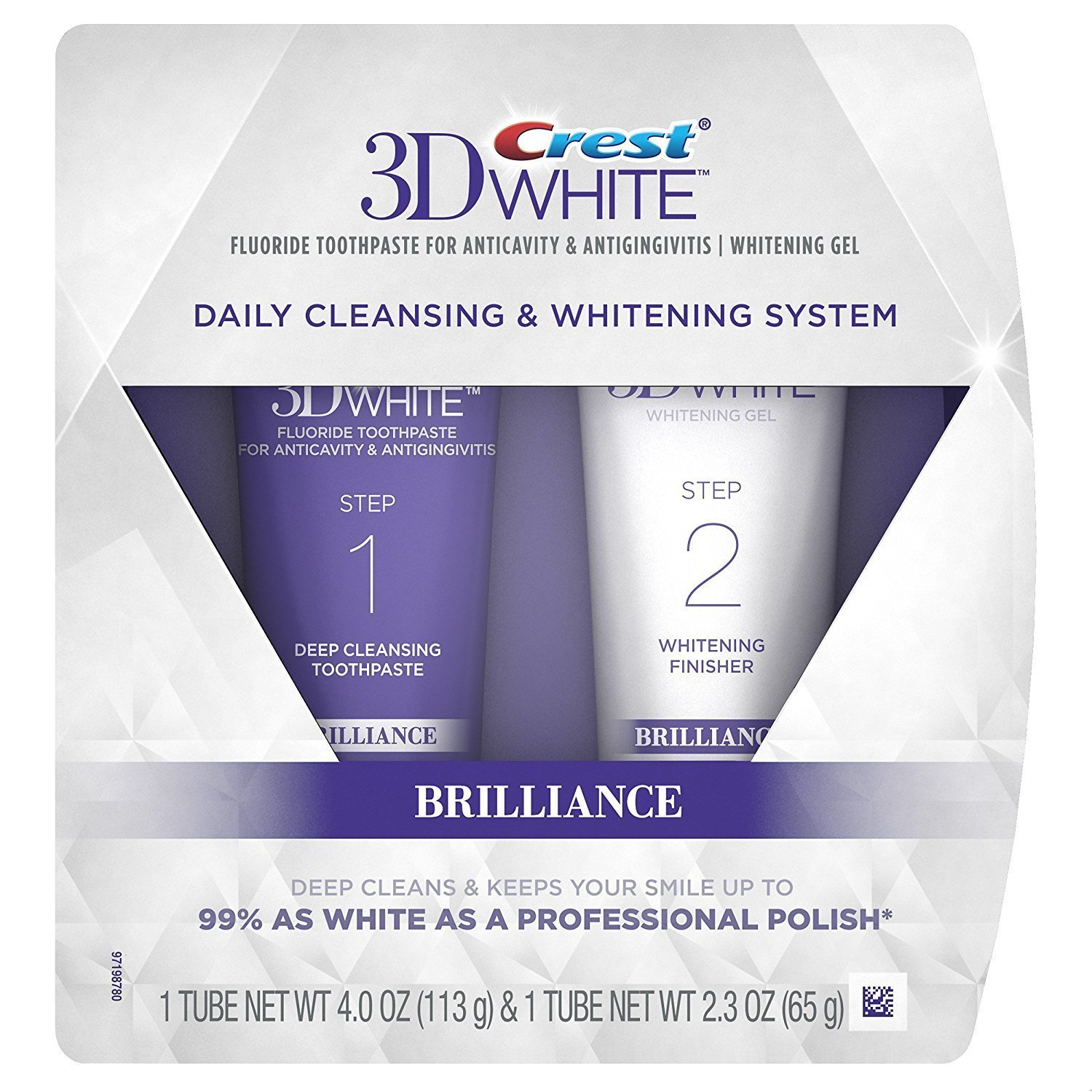 Crest 3D White Brilliance Daily Cleansing Toothpaste and Whitening Gel System, Total Weight 6.3 Oz