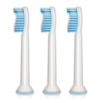 Philips Sonicare Sensitive replacement toothbrush heads for sensitive teeth, HX6053/05, 3-pk