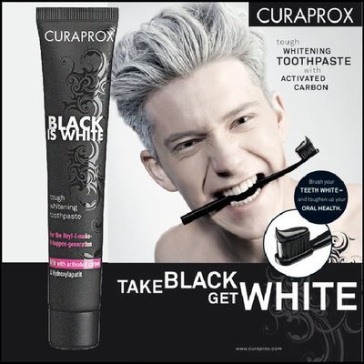 CURAPROX Black Is White CHARCOAL WHITENING toothpaste 90ml crest toothpaste activated carbon oral health