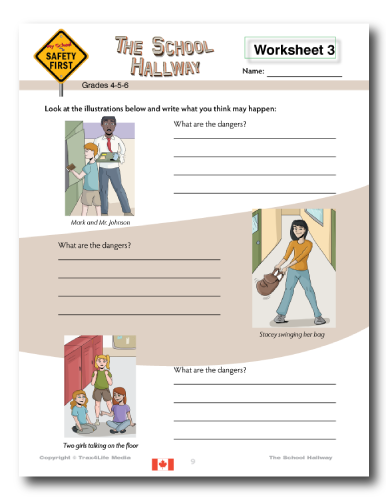 School Hallway Safety Lesson Plan and Worksheets - Grades 4-5-6