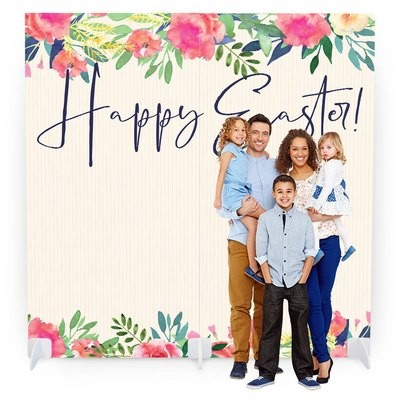 Easter Photo Booth with Props - Watercolor Flowers