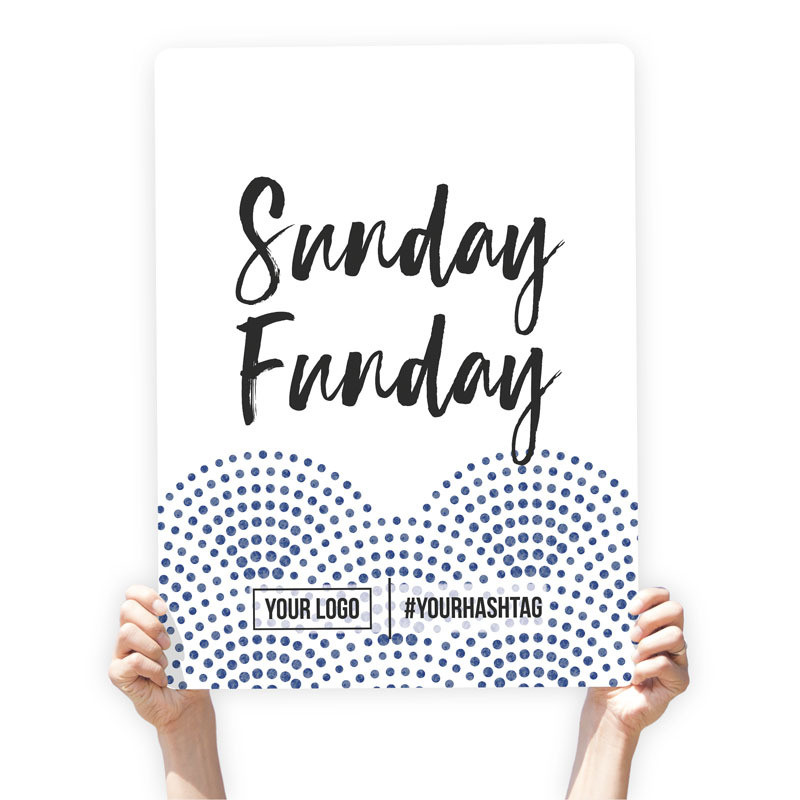 """Watercolor Greeting Sign - """"Sunday Funday"""" (Blue Dots)"""