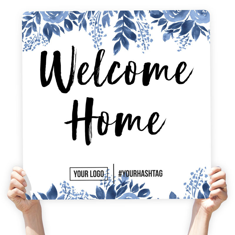 "Watercolor Greeting Sign - ""Welcome Home"" (Blue Flowers)"