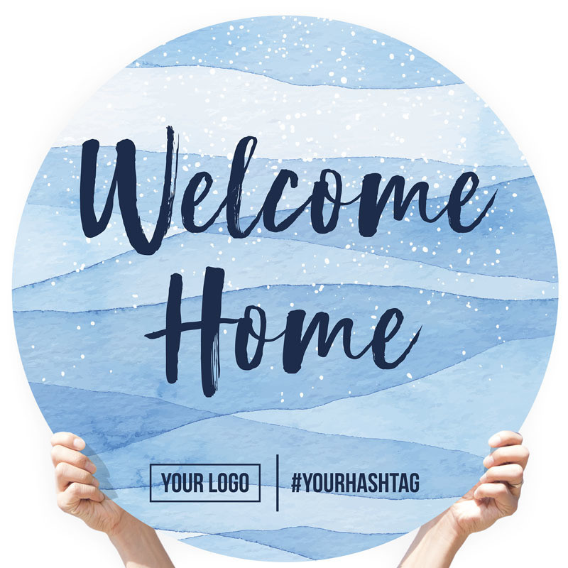 "Watercolor Greeting Sign - ""Welcome Home"" (Blue Speckle)"