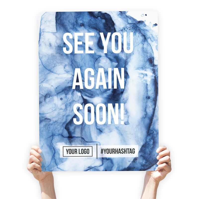 "Watercolor Greeting Sign - ""See You Again Soon"" (Blue)"