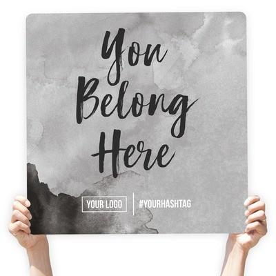 "Watercolor Greeting Sign - ""You Belong Here"" (Gray)"