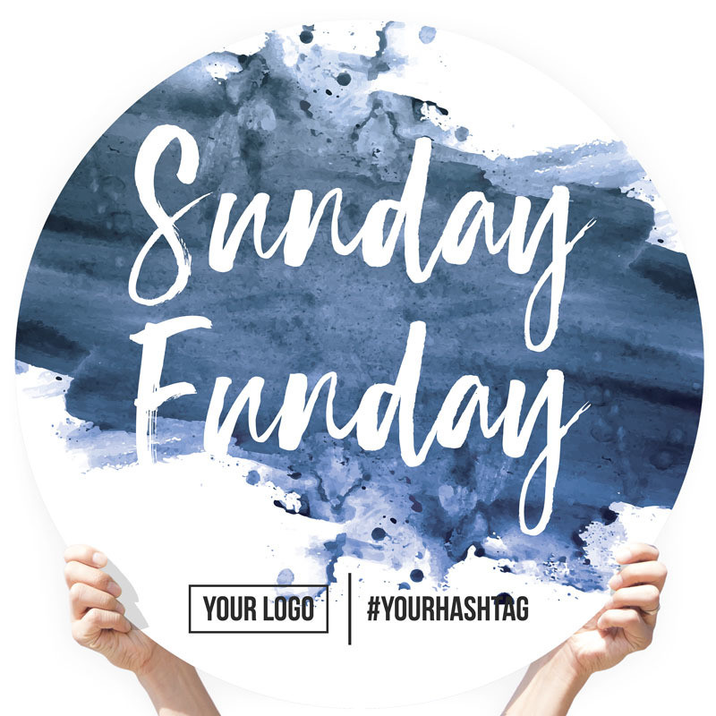 "Watercolor Greeting Sign - ""Sunday Funday"" (Navy)"