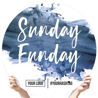 """Watercolor Greeting Sign - """"Sunday Funday"""" (Navy)"""