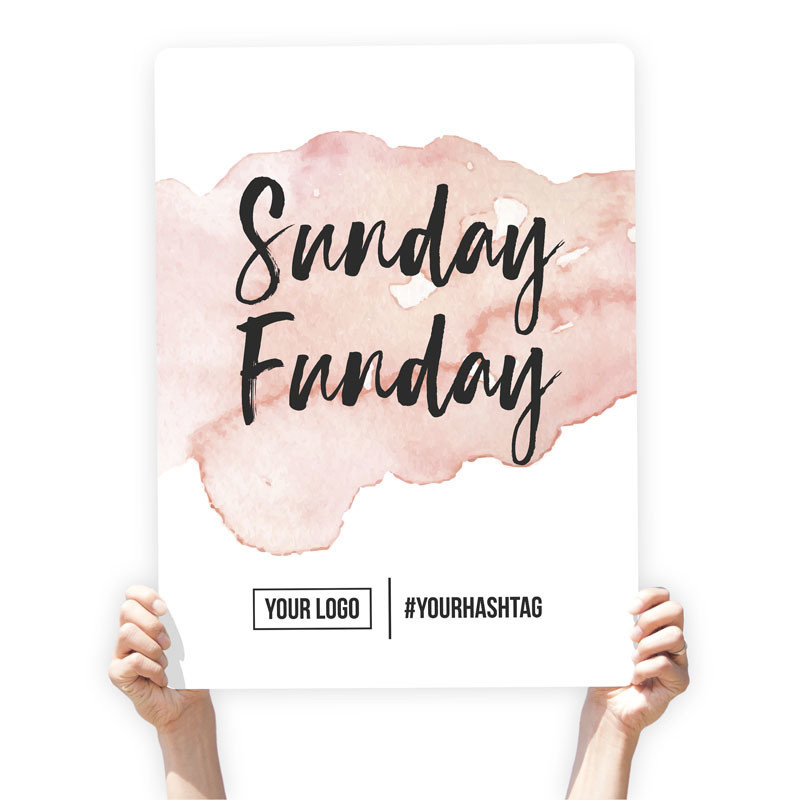 """Watercolor Greeting Sign - """"Sunday Funday"""" (Peach)"""
