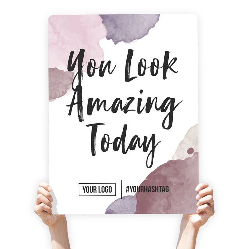 """Watercolor Greeting Sign - """"You Look Amazing Today"""" (Purple)"""
