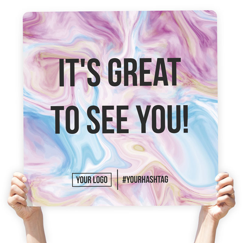 "Watercolor Greeting Sign - ""It's Great To See You!"" (Purple Swirl)"