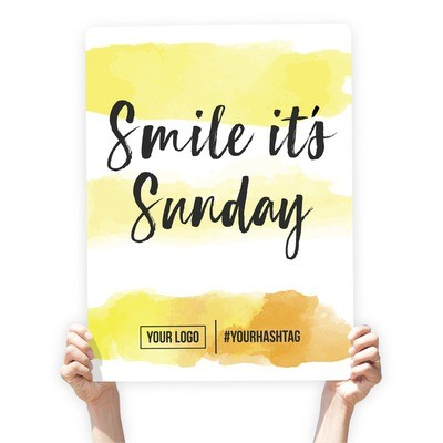 """Watercolor Greeting Sign - """"Smile It's Sunday"""" (Yellow Stripes)"""