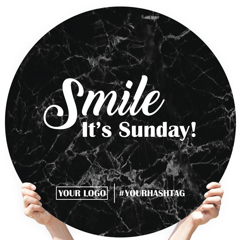 "Marble Greeting Sign - ""Smile It's Sunday!"""