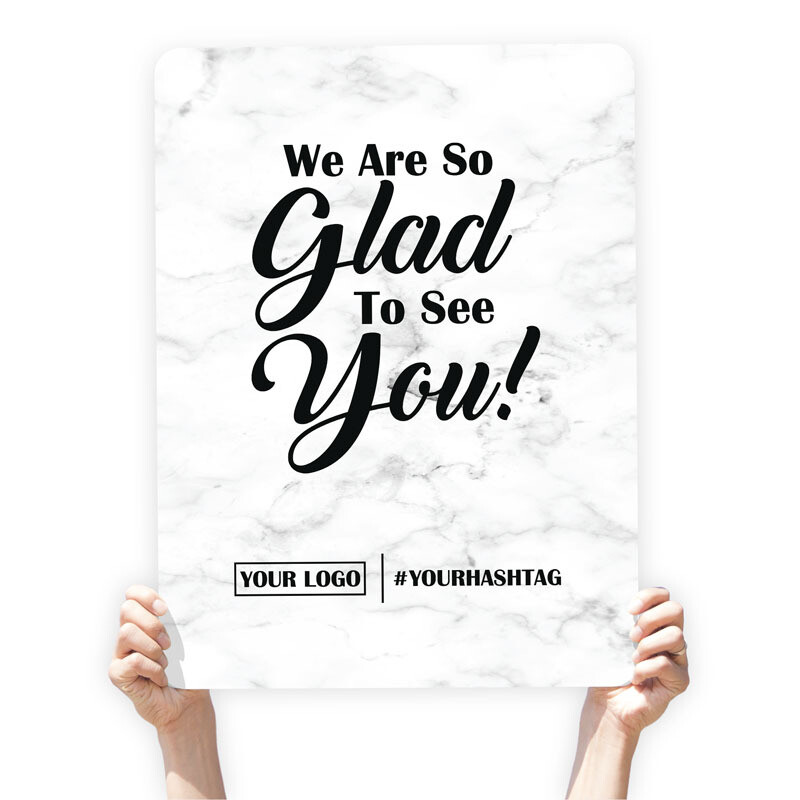 "Marble Greeting Sign - ""We Are So Glad To See You!"""