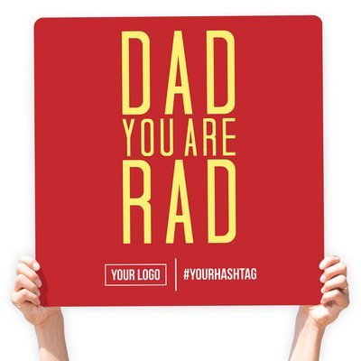 """Father's Day Greeting Sign - """"Dad You Are Rad"""" (Red)"""