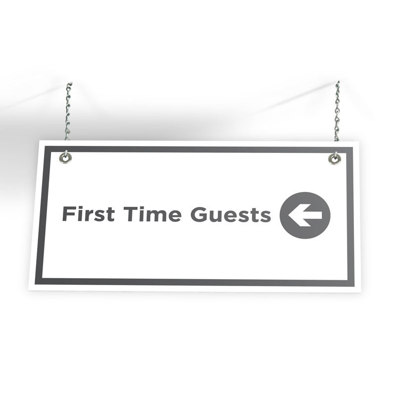 """First Time Guest Directional Sign (24"""" X 12"""")"""