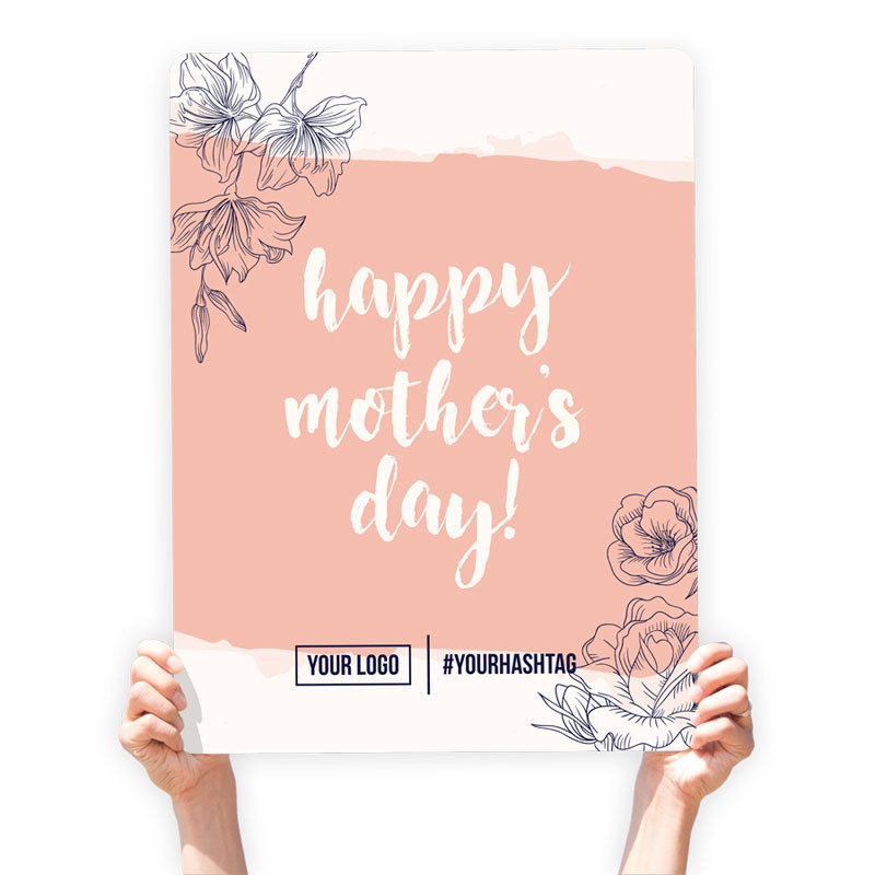 """Mother's Day Greeting Sign - """"Happy Mother's Day"""" (Coral)"""