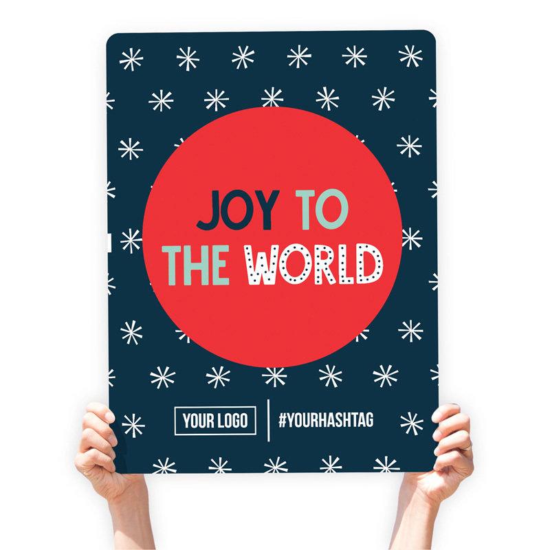 """Christmas Greeting Sign - """"Joy to the World"""" (White Snowflakes)"""