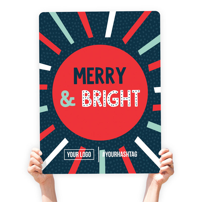 """Christmas Greeting Sign - """"Merry & Bright"""" (Radiant)"""