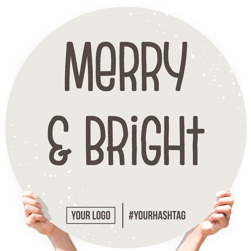 """Christmas Greeting Sign - """"Merry & Bright"""" (Snow)"""