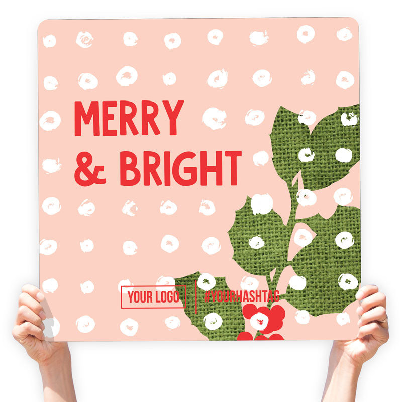 "Christmas Greeting Sign - ""Merry & Bright"" (Mistletoe)"