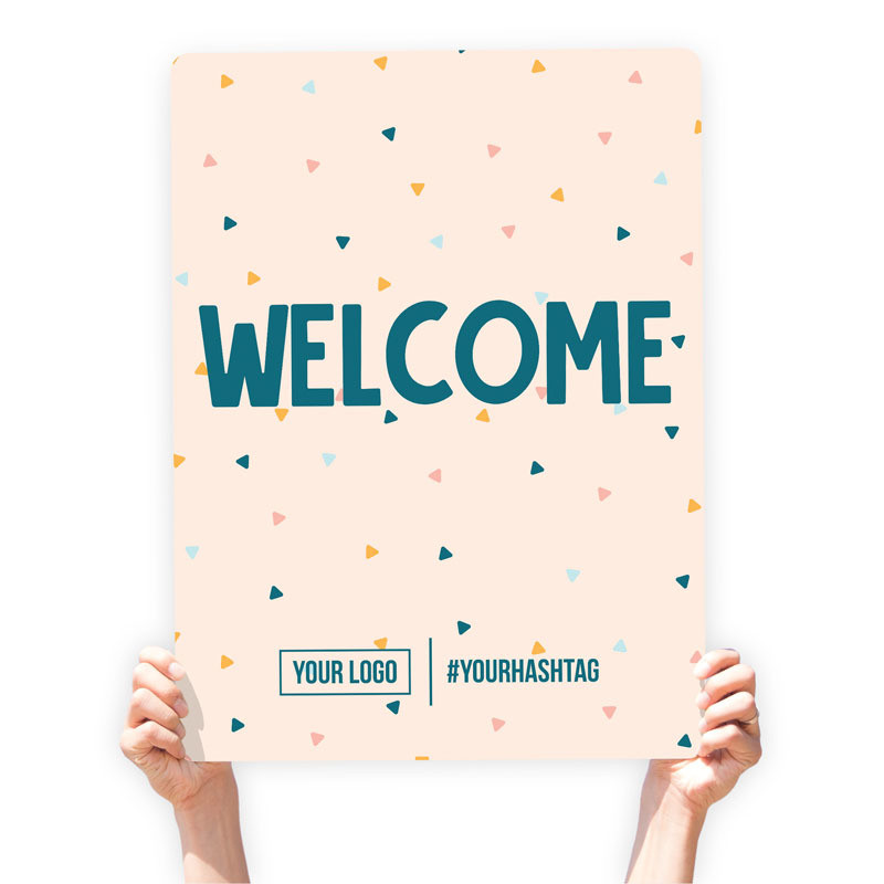 """Easter Greeting Sign - """"Welcome"""" (Confetti)"""