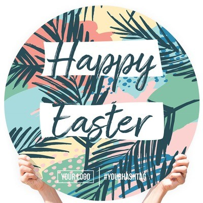 """Easter Greeting Sign - """"Happy Easter"""" (Palm Leaves)"""